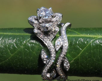 FLORAISON de travaux d'Art - 14k fleur feuille Rose Lotus diamant Engagement bague de mariage Set - laisse sur la conception de fL07-brevetée de bande - brides-