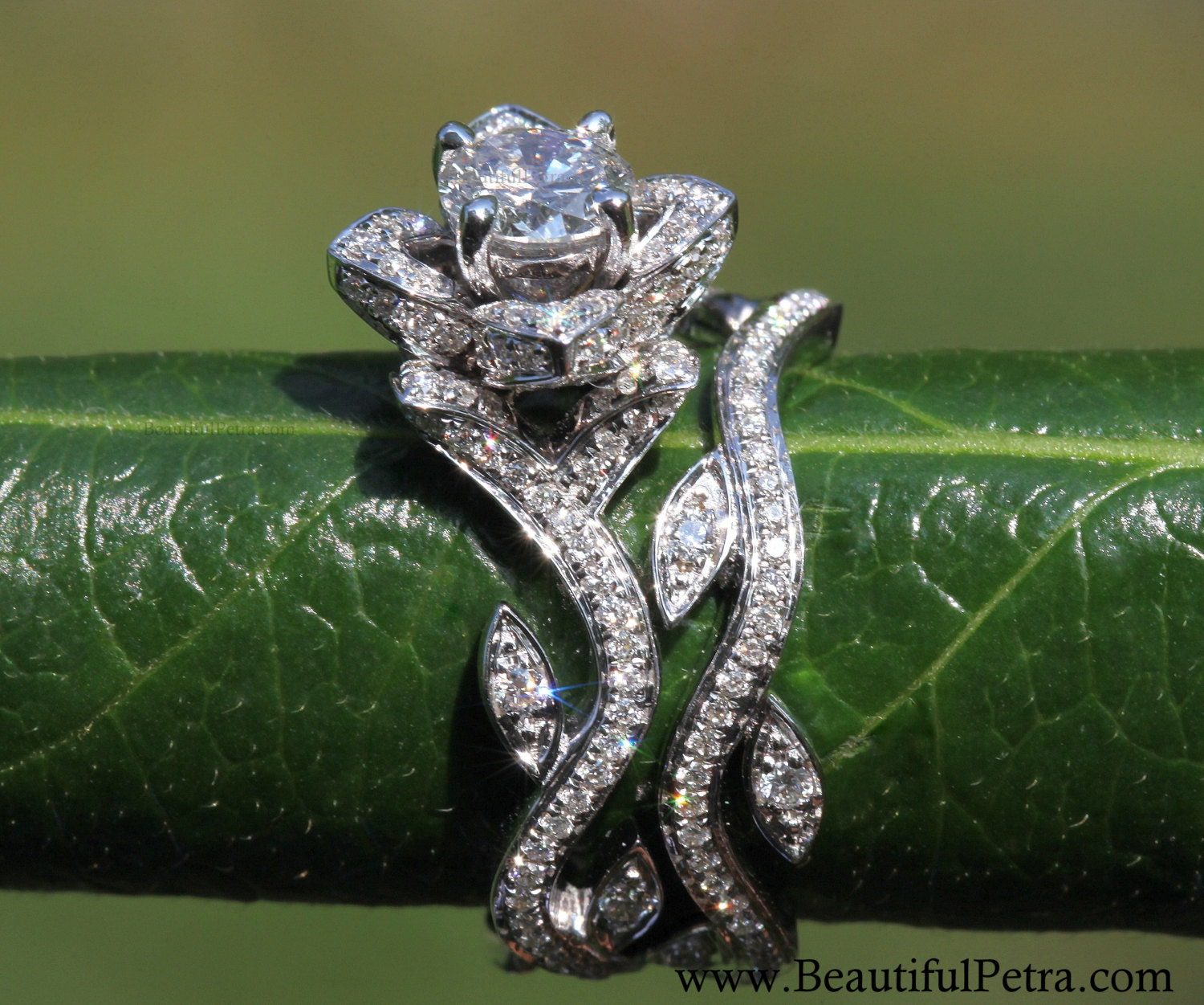 with caribbean moissanite lotus ring rosewood setting engagement rings platinum products flower