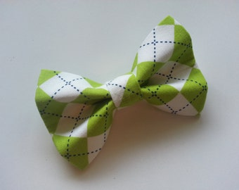 Green and White Argyle Christmas St. Patrick's Day Dog or Cat Bowtie