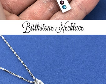 Birthstone Necklace, Vertical Bar Necklace, Birthstone Bar Necklace, Mothers Day Gift, Grandma Gift, Mom Gift, Christmas Gift For Mom