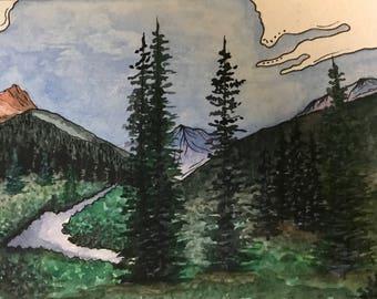 Original watercolor | Landscape watercolor | Watercolor nature | art | Cascade | Colorado
