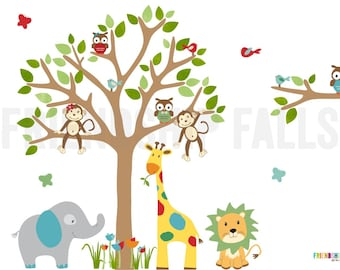 Jungle Decals, Jungle Wall Decals, Nursery Wall Decal, Giraffe, Elephant, Lion, Balloon Friends Evergreen, Friendship Falls wall decal