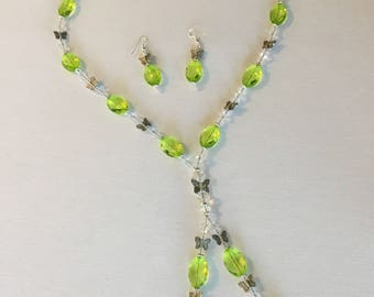 Butterfly Green beaded necklace and earrings