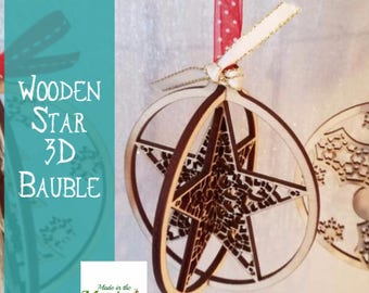Christmas tree bauble, wooden 3D star hanging decoration