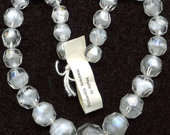 Vintage White Givre Beads Graduated Faceted 8 to 12mm W. Germany No 14mm Center Bead
