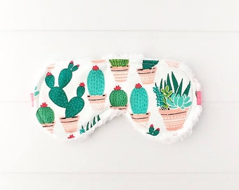 Sleep Mask - Eye Mask - Housewarming gift - Cactus Gifts - Back to School - Gifts For Her - Cactus Party Favors - Gifts Under 20