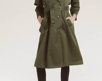 vtg olive trench coat / rugged all weather rain coat / classic moss color