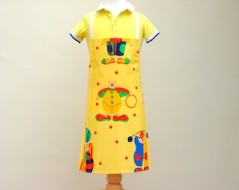 Cute Clown Child Apron Pvc, Oilcloth Apron, Waterproof Apron, Playtime Apron, Toddler Apron