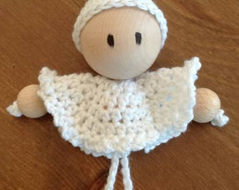 Decoration of Christmas Elf white crocheted by hand to hang on your Christmas tree