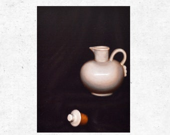 White Teapot - Original Still Life Oil Painting