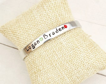 Custom family bracelet, mother's bracelet, mom jewelry, anniversary jewelry, monogram cuff, personalized jewelry, grandmother's bracelet