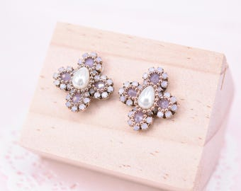 Beaded pink floral studs
