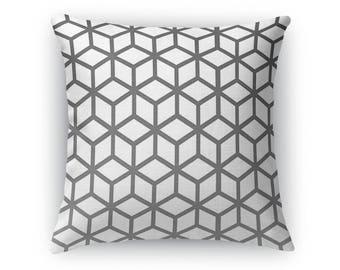 White Cubes Throw Pillow