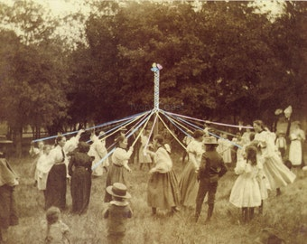 Maypole Dance Vintage Photo. Digital, Download, sepia, May, brown, photograph, party, instant, transfer, image, outdoor, #12/ps/pes