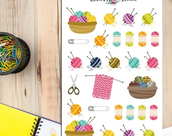 Knitting Planner Stickers | Yarn Stickers | Craft Stickers | Knitting Stickers | Sewing Stickers | Crochet Stickers (S-035)
