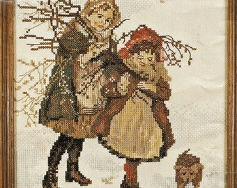 Lanarte Cross Stitch Young Girls Gathering Branches Winter Scene