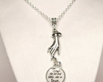 Literary Quote Necklace, Charm Necklace, Victorian Hand Necklace, Shakespeare Quote Necklace, Though she be but little, Literary Jewelry