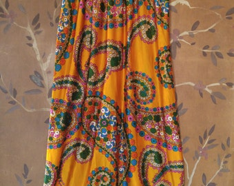 70s psychedelic flower power maxi skirt