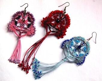 """TUTORIAL (EN) PDF- """"Stained glass"""" - macrame earrings tutorial step by step boho pink"""