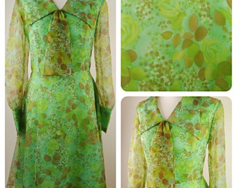 1970s pretty chiffon floral design long sleeved green dress with tie size 14