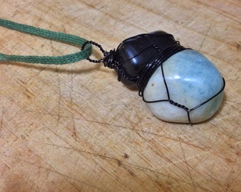 Aquamarine and Jet Multi Wirewrapped Necklace with Black Copper, Organic Sage Green Chain - Fair Trade, Ecofriendly Necklace