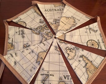 world map brown cotton bunting eight flags
