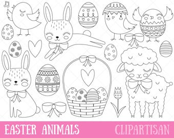 Easter Clipart, Easter Bunny, Baby Animals Digital Stamp, Chick, Bunny, Lamb, Easter Eggs