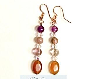 """Women's Earrings: Copper,  Agate,  Rhodonite, Fluorite & Swarovski Elements """"Elegance""""   By ANena Jewelry"""