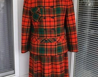 Vintage Mod 1960's Modelia by Don Simonelli Designs Suit/Vtg Plaid Wool 60's Mod outfit by Don Simonelli Designs Modelia Free US Shipping