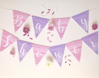 Baby Shower Bunting - Pink and Purple Watercolour Design