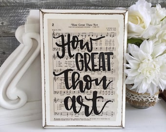 How Great Thou Art - rustic wood sign, vintage hymn,  gift for mom, Christian gift, hand lettered sign, hymn art, hymn sign, Imperfect Dust