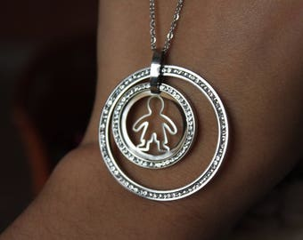 Stainless Steel Boy Necklace, Boy Pendant, Mother's Day, Doen't tarnish, Jewelry Supplies.