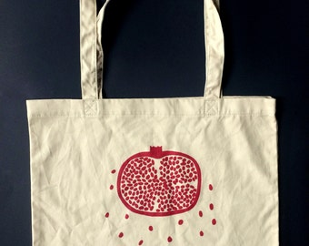 Pomegranate Tote Bag, Market Tote, Food Bag, Reusable Bag