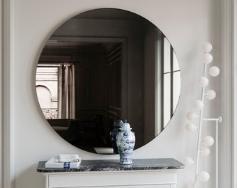 Round wall mirror Black wall mirror. Round, MidCentury handmade hanging black wall mirror. Custom glass mirror with black glass.