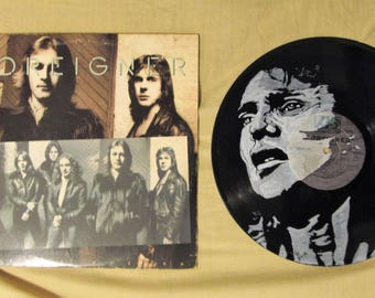 Lou Gramm pen and ink portrait on Double Vision Vinyl Record