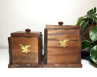 Vintage Wooden Canisters w/ Gold Eagle Emblem
