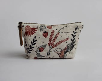 Hummingbirds* Small Traveler Pouch. Project Bag. Zipper Pouch. Cosmetic bag. Pencil Case.