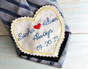 Groom Gift. Hand Embroidered Tie Patch. Groom Gift from Bride. Tie Patch. Necktie. Gift for Groom. Hand Embroidery by Sew Happy Girls