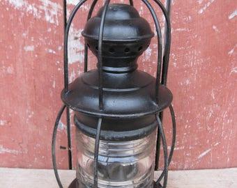 Antique Perkins Clear Cut Glass Globe Marine Maritime Oil Lamp Lantern