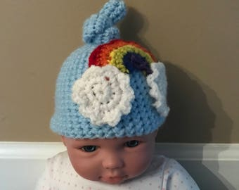 Rainbow hat and diaper cover