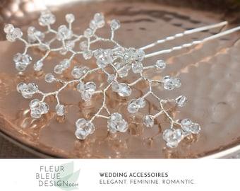 crystal hair pin | silver bridal hair pin | silver hair pin | silver crystal hair accessories | wedding hair pin | hair pins for wedding