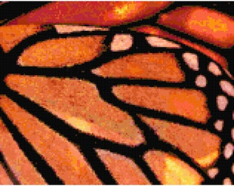 Monarch Butterfly Wings Counted Cross Stitch Pattern Chart PDF Download by Stitching Addiction