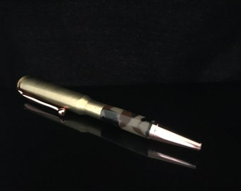 Bullet Mini Pen, clip, 30-06 Caliber Cartridge, Twist open, Copper nib and clip, Woodland Camo acrylic, gift 1035