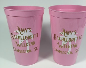 Bachelorette Party Cups - Palm Tree - Beach - Personalized - Set of 8