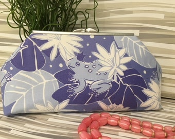 Clutch Lilly Pulitzer Frog Prince Periwinkle Upcyled Skirt