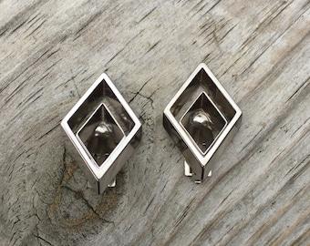 Silver Earrings Clip On Earrings Vintage Earrings Diamond Shape Earrings