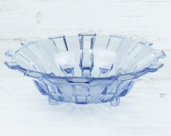 Vintage Blue Glass Fruit Bowl - Serving Dish Fruit Decor Geometric Glassware