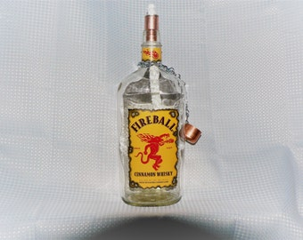 Recycled Fireball Whiskey Oil Lamp