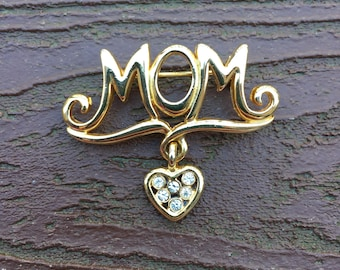 Vintage Jewelry Mom Mother's Day Dangling Heart with Rhinestones Pin Brooch