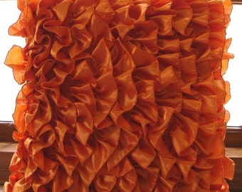 """Orange Throw Pillows Cover, 16""""x16"""" Satin Pillows Covers For Couch, Square  Vintage Style Ruffles Shabby Chic Pillow Cases - Vintage Orange"""